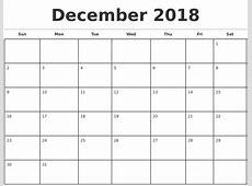 Printable Monthly Calendar December 2018 journalingsagecom