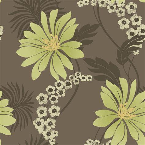 K2 Tahiti Brown & Green Floral Wallpaper Departments