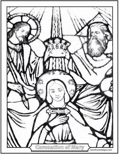 Mary Coloring Heaven Queen Coronation Earth Saint