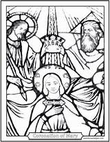 Mary Coloring Coronation Crowning Heaven Queen Earth Saint Rosary Stained Glorious Glass Catholic Saints Holy Jesus Lady Mysteries God Prayer sketch template