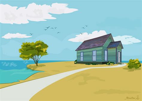 house   beach  blue sky prezentatsiya