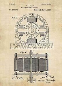 Nikola Tesla Motor Patent Print