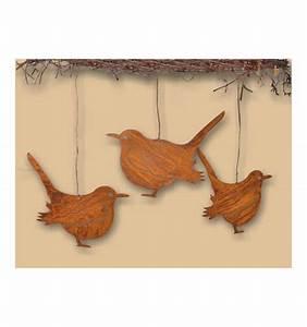 rost vogel spatz zum hangen With französischer balkon mit tierfiguren aus holz für den garten