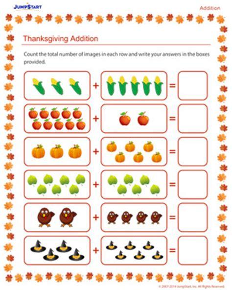 thanksgiving addition  addition worksheet  kids