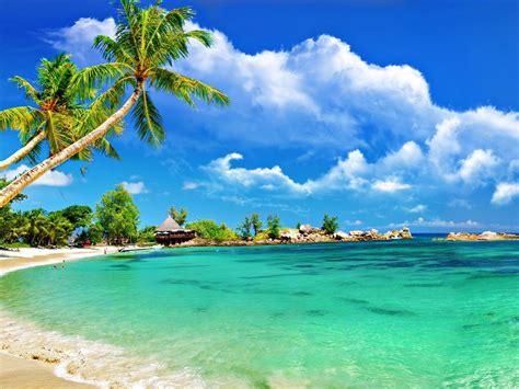 tropical beach bungalow palm sandy beach ocean turquoise water towels sky clouds hd wallpaper