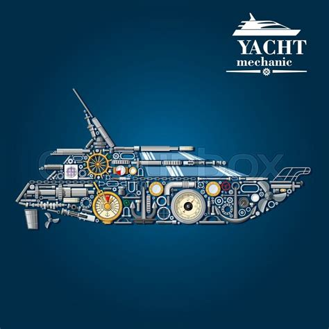 Boat Mechanic License by Yacht Mechanics Scheme With Motor Boat Formed Of Engine
