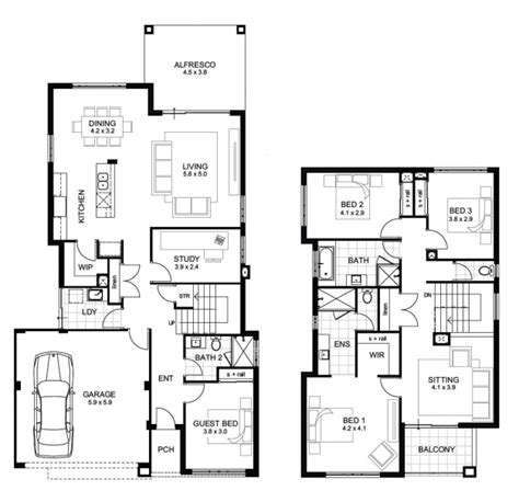 Beautiful Interiors Indian Homes - two storey house floor plan and elevations house floor plans