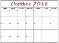 Printable Blank Calendar October 2018 – Printable 2018