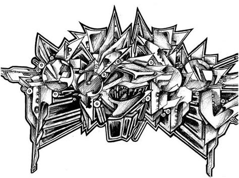 Abjad Graffiti W :  3d Sketches In Black And White