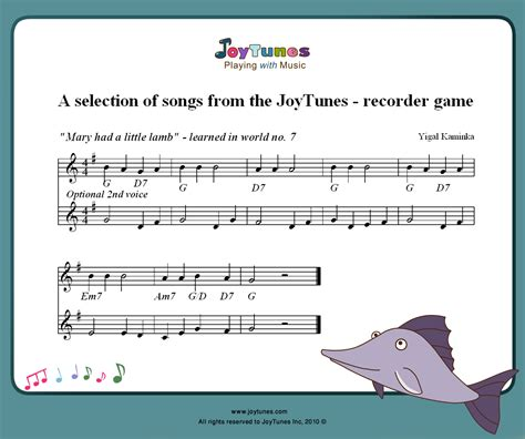 In this lovely music video for kids, your little one will learn about mary's story as they get to accompany mary and her little friend during a. Mary had a little Lamb for recorder   JoyTunes