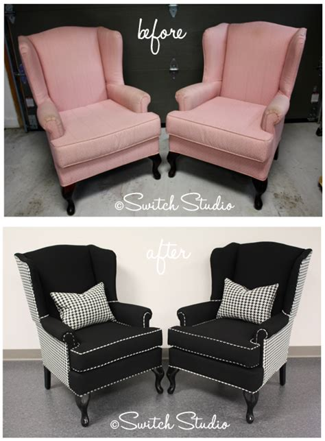 Getting A Chair Reupholstered by Switch Studio Reupholstered Wingback Chairs Black And