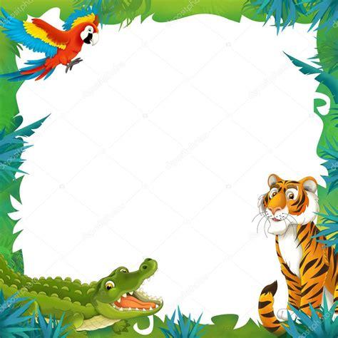cartoon safari frame border stock photo  agaes