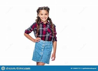 Schoolchild Skirt Checkered Posing Denim Preteen