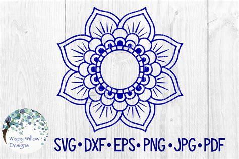 Mandala Flower Border, Name, Monogram Circle Frame, Cut