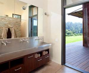 stainless trough sink home design ideas pictures remodel With barn house sink