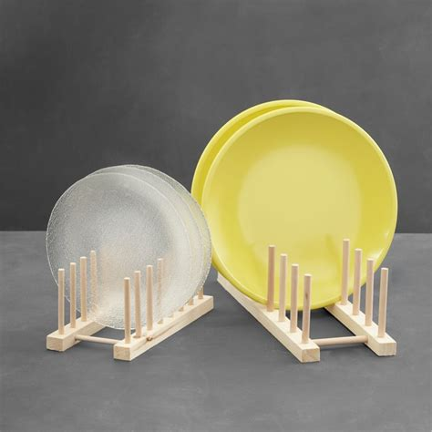 wooden plate racks crate  barrel