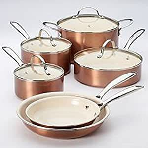 amazoncom food network  pc nonstick ceramic coated cookware set copper kitchen dining