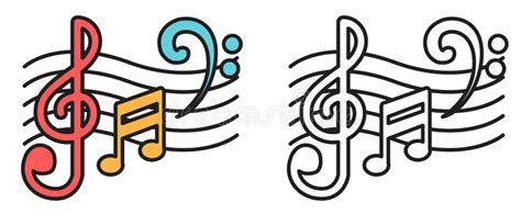 Colorful And Black And White Music Notes For Coloring Book