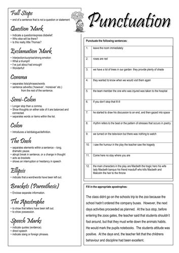 punctuation worksheet by smudge78 teaching resources