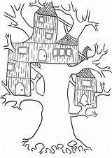 Coloring Treehouse Tree Pages Wierd Clipart Template Library Popular Luna sketch template