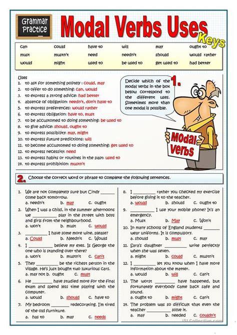 modal verbs  english esl worksheets english