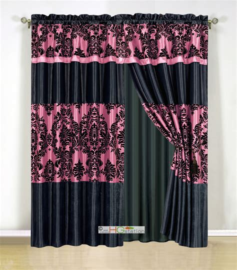 black and pink curtains 4pc silky satin flocking damask striped curtain set