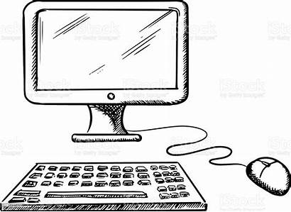 Keyboard Computer Mouse Desktop Sketch Clipart Monitor