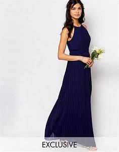 tfncweddinghighneckpleatedmaxidress bridesmaid With navy blue maxi dress for wedding