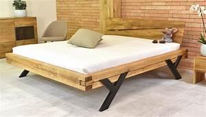 Modernes Bett 180x200 : modernes doppelbett aus eiche mit stahlbeine in y form 160x200 180x200 balkenbett ~ Watch28wear.com Haus und Dekorationen