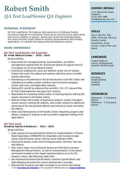 qa test lead resume samples qwikresume
