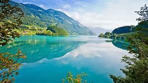 Lake, Mountain, Cyan, Reflection, Nature, Landscape, Trees