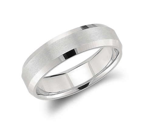 beveled edge matte wedding ring in platinum 6mm groom