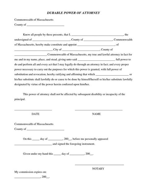 durable power of attorney form for california printable durable power of attorney form california