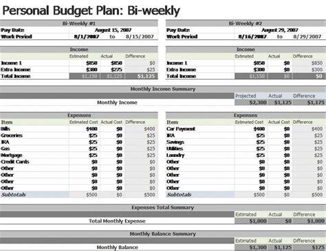bi weekly budget templates officecom budget