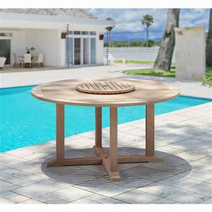 Natural, Teak, Outdoor, Dining, Table, With, Lazy, Susan-tk8406