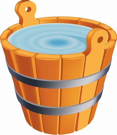 Bucket Water Clipart Wooden Transparent Sufficient Cliparts