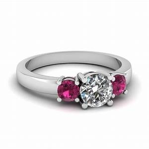 3 stone round diamond engagement ring with pink sapphire With circular wedding rings