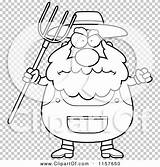 Farmer Pitchfork Coloring Cartoon Plump Waving Anger Outlined Clipart Vector Thoman Cory sketch template