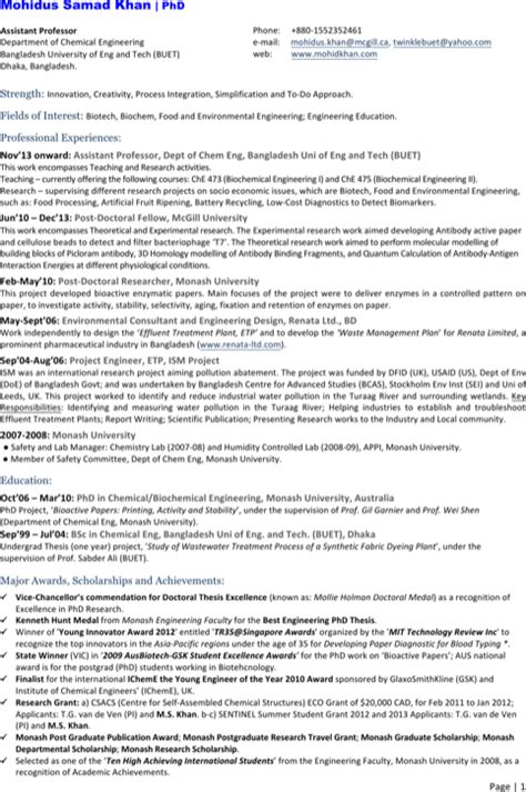 chemical engineer resume templates for excel pdf and word