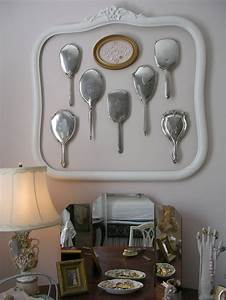 grouped vintage engraved hand mirrors inside old empty With frame with letter inside