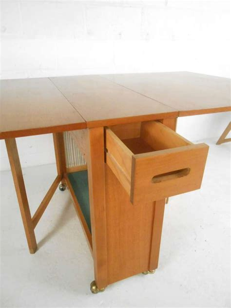 mid century modern drop leaf table and chairs set