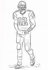 Coloring Football Pages Printable Sheets Brady Tom Player Players Sport Sports Template Printables Curry Gronkowski Rob Steph Colouring Nfl Sheet sketch template