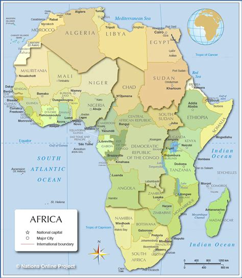 Africa Political Map By Nations Online Project  Cats For