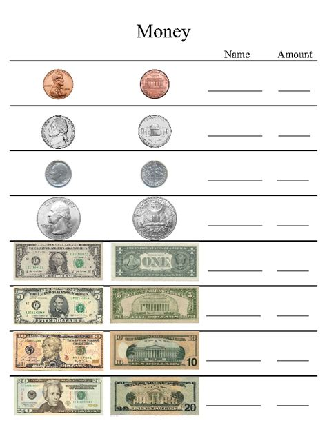 us money worksheet learning activitys
