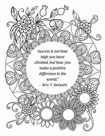 Coloring Inspirational Quotes Adult Positive Adults Quote