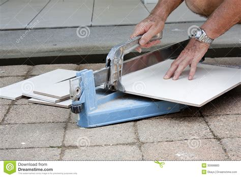 Tiler Cutting Tiles Stock Image Image Of House, Cutter