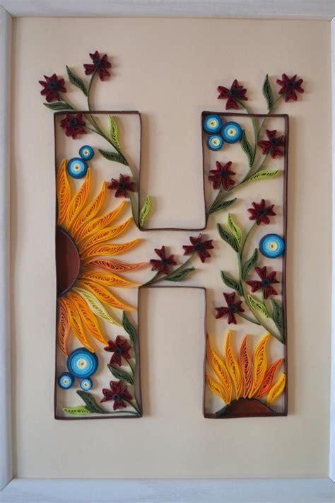 paper quilled monogram letter  gift idea quilled letter etsy