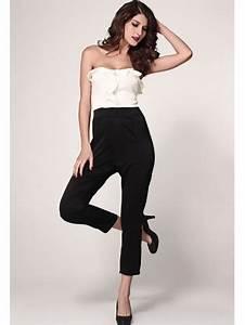 Combinaison Femme Noir Et Blanc : combi pantalon bustier noir et blanc pour femme tendance ~ Melissatoandfro.com Idées de Décoration