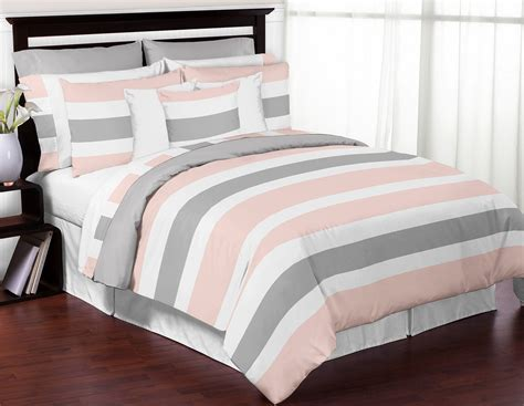 gray white and pink bedroom sweet jojo designs modern pink and gray kids twin bedding 18822 | stripe pk gy queen twin large fs