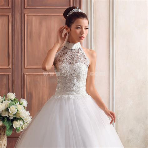 Korean Style Applique Bead Halter Princess Bridal Gown